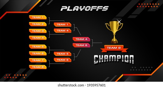 modern sport game tournament championship contest bracket board vector with gold champion trophy prize icon illustration background in futuristic tech theme style layout.