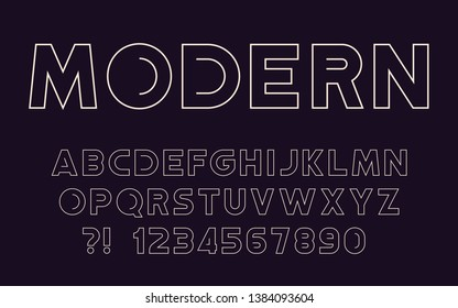 Modern sport line font Geometric tech design Futuristic cool letters and numbers Super hero abc Vector alphabet