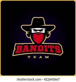 Modern sport logo template with the image of the bandit mascot in the hat.