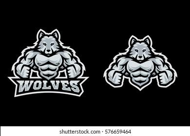 Modern sport logo template with the image of the muscular anthropomorphic wolf. Mascot in sports style.