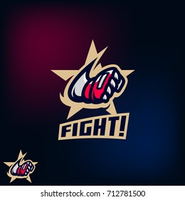 Modern sport logo template with image of the flying hand in a fighting glove on the background of a golden star.