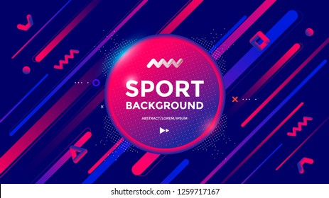 Modern Sport poster design with dynamic gradients lines and shapes. Vector abstract geometric trendy illustration
