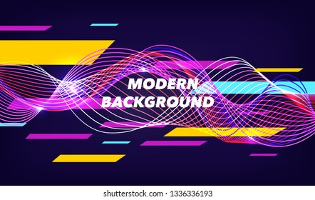 Modern Sport poster, violet technology background with abstract digital wave. Trendy illustration, vector, eps10
