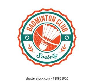 Modern Sports Club Badge Logo - Badminton