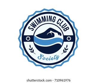 Modern Sports Club Badge Logo - Swimming