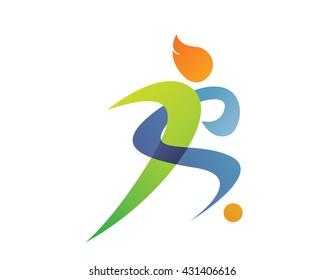 Modern Sports Logo - Soccer Silhouette Symbol