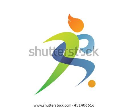 modern sports logo soccer silhouette symbol stock vector royalty