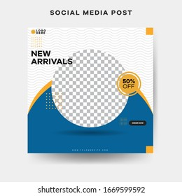 Modern square blog posts Editable simple info banner, trendy book cover idea.Promotional for social media post and web.  Unique Editable modern Social Media banner Template.