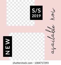 Modern square design template with geometric shapes, placeholder for photos and text. Trendy and stylish vector illustration, social media post, newsletter, brochure design in white, pink and black.
