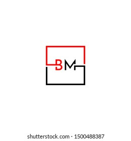 modern square technology business BM logo letter design concept in black and red color isolated on white background