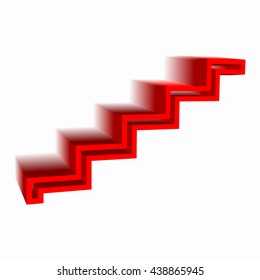 Modern staircase 3d red isolated. Ladder side view.Vector illustrations on a white background.