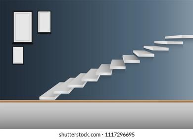 Modern Staircase Interior Design., Vector, Illustration