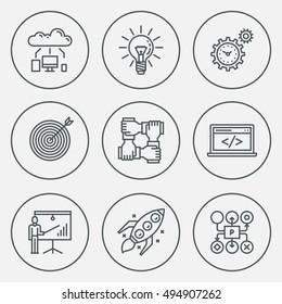 Modern Startup Business Circle Mono Linear Icon Set. Trendy Simple Line Design Art Vector Illustrations.