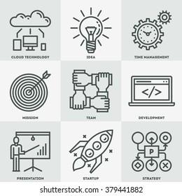 Modern Startup Business Mono Linear Icon Set. Trendy Simple Line Design Art Vector Illustrations.