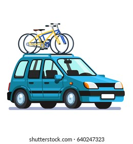 8c94b7a2801fc2 Modern station wagon car with two bicycles mounted on the roof rack. Flat  style vector