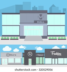 Modern Store & Mall Building on flat style illustration