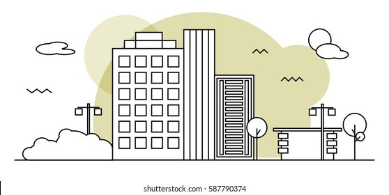 Modern street scenery in outline flat design style. Residential or business district with park and small coffeehouse or shop
