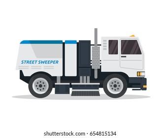 Modern Street Sweeper Truck Illustration Logo