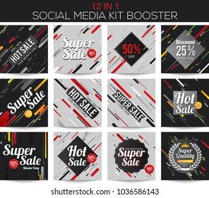 Modern stripes multipurpose social media kit booster. Available in 12 alternate design, suitable for your promotion
