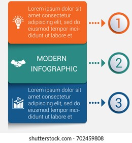 Modern strips infographics 3 options banner for business processes, workflow, diagram, flowcharts
