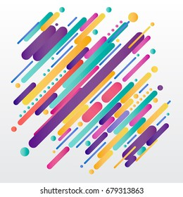 Modern style abstrac composition made of various rounded shapes in colorful. Vector illustration.