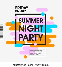 Modern style abstraction Summer Night Party poster Template. Geometric style web banner. Abstract flat design colorful illustration. Vector poster.