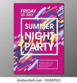 Modern style abstraction Summer Night Party Vector poster Template. Geometric  style web banner. Abstract flat design colorful illustration.