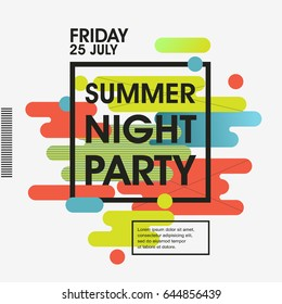 Modern style abstraction Summer Night Party Vector poster Template - EPS10 Design