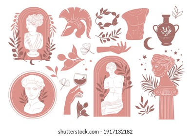Modern style Antique greek sculpture set. Various Antique statues, branch, amphora, column. Hand drawn Vector illustrations isolated