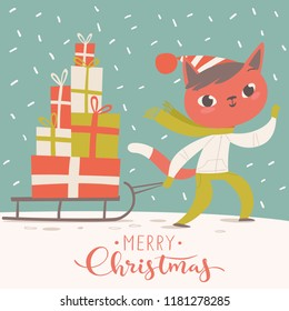 Modern style cartoon Christmas poster with a cat and Christmas gifts