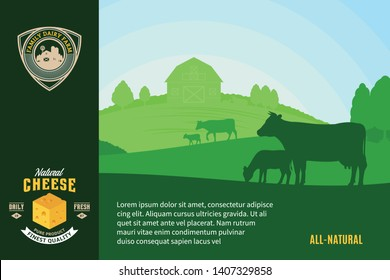 Modern style cheese logo. Dairy farm or farming design elements. Vector cheese illustration with rural landscape, cows and calves for groceries, agriculture stores, packaging and advertising.