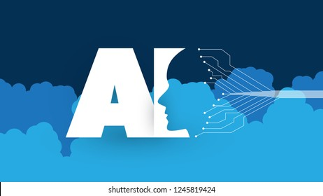 Modern Style Cloud Computing, Global AI Assistance, Automated Support, Digital Aid, Deep Learning and Future Technology Concept Design with Clouds and Human Head - Vector Illustration