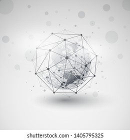 Modern Style Cloud Computing and Networks Design Concept with Polygonal Sphere and Earth Globe - Big Data, Global Access