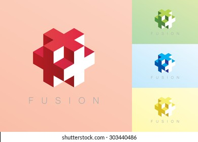 Modern style cube vector in red, blue, green and yellow color with Fusion text.