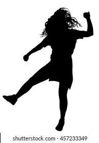 Modern style dancer girl vector silhouette illustration isolated on white background. Woman ballet performer. Sexy hip hop lady.  Time out spectacle, cheerleader performer dance. Sport support event.