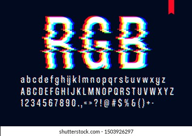 Modern style distorted glitch typeface, mixing red green and blue channel screen defect, uppercase and lowercase letters, only for a dark background