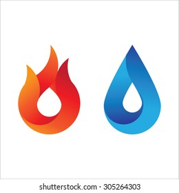 Modern style fire and water logo with gradient effect. Abstract symbol of the two main counter element.