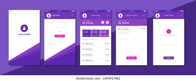 Modern Style Flat minimal Payment Application UI Design Template