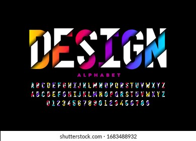 Modern style font, vibrant alphabet letters and numbers vector illustration