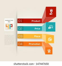 Modern style graph layout with 4 P Marketing Mix Business concept