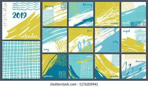 Modern style hand drawn abstract vector 2019 calendar