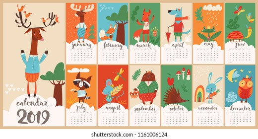 Modern style hand drawn cartoon vector 2019 calendar with funny forest animals