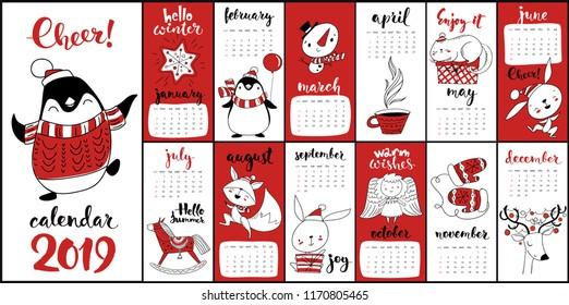Modern style hand drawn cartoon vector 2019 calendar with funny Christmas symbols