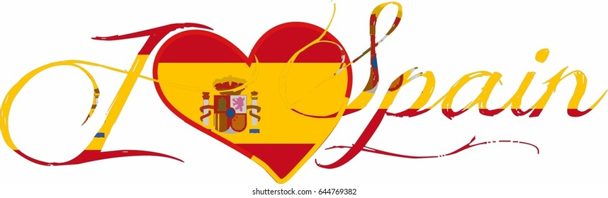 A modern style heart decorated handcrafted I Love Spain vector text, typeface, banner, label, sticker, tag, a logo for Spain day and Spain holidays. decorative text Spain Flag