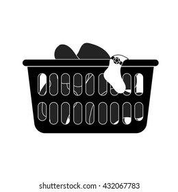 Modern style icon of loundry basket with dirty clothes