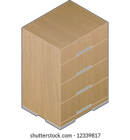 Modern Style Large bright Wooden Closet with aluminum finnish (3D: isometric, vector file format).