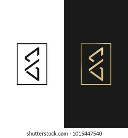 Modern style lettering logo(emblem). E, M, CG or W combination.  Vector image.