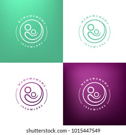 Modern style line logo. Mother gently holding child. Vector image.