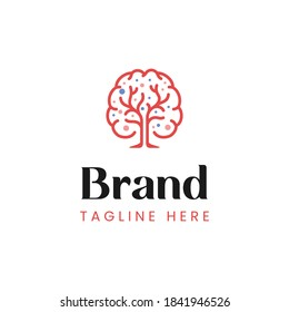 Modern style mind and tree logo template