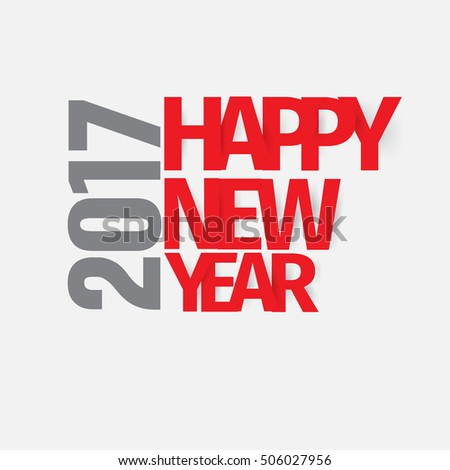 modern style minimalist red gray color scheme new year greetings card on light gray background